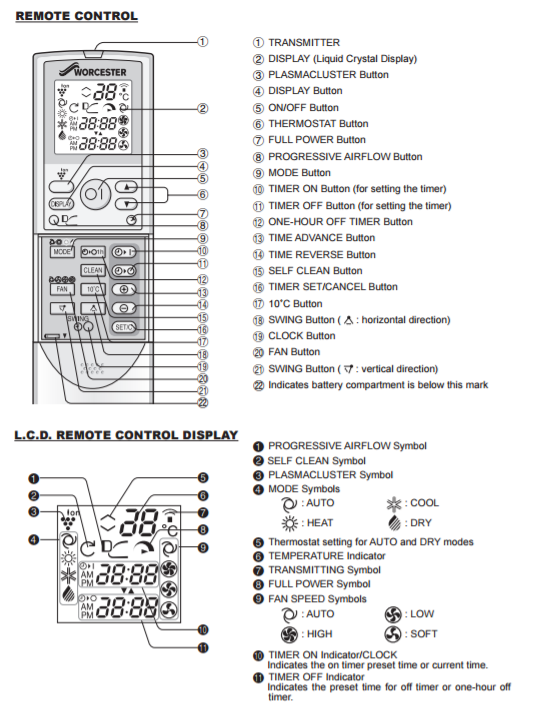 Air source heat pump remote control instructions