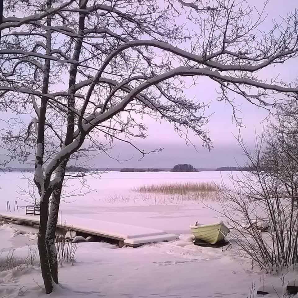 Talvimaisema Skitunäsin merenrantahuvilalta